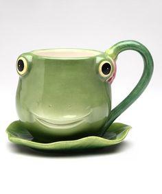 Look at this #zulilyfind! Frog Cup & Saucer #zulilyfinds