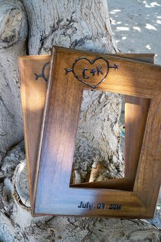2 Personalized 5x7 Rustic wedding frames, engraved initials and date, gift for parents of bride and groom