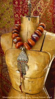 Moroccan Tribal amber resin and vintage tribal pendant / dangles
