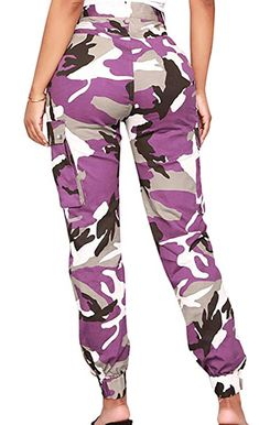 681e95ee76d Voghtic Women s High Waisted Slim Fit Camoflage Camo Jogger Pants with Belt  at Amazon Women s Clothing store