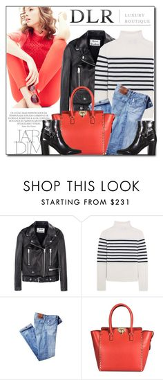 """""""DLRBOUTIQUE"""" by monmondefou ❤ liked on Polyvore featuring J.Crew, Acne Studios, Topshop Unique, Yves Saint Laurent, black, red, dlr and dlrboutique"""