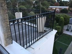 Satisfied client with our Decorative Railings fitted to her residential balcony in Wimbledon. Railings, Wimbledon, Balcony, Deck, Fire, Outdoor Decor, Home Decor, Floating Stairs, Front Porch