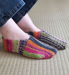 Free Knitting Pattern on Undecided Slippers - These slippers are knit mostly in garter stitch, but with an unusual bi-directional construction in two directions that showcases self-striping or variegated yarn. Designed by Sybil R