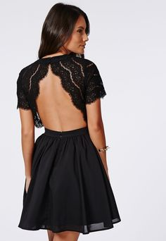Missguided Faith Lace Backless Skater Dress Black on shopstyle.com