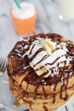 caramelized coconut banana bread waffle french toast. - Half Baked Harvest