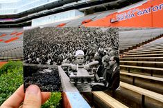 From the UF Then & Now Photo Project. Ben Hill Griffin Stadium at Florida Field. Then: A young boy sells soda at a Gator football game in 1960. Now: A newer hedge, a larger stadium, and those attending games dress considerably different.