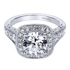 Gabriel - Florence 14k White Gold Round Halo Engagement Ring