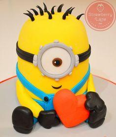 Despicable Me Love Heart Minion Cake Cake by Strawberry Lane Cake Company