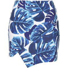 TOPSHOP Blue Leaf Print Wrap Skirt ($29) ❤ liked on Polyvore featuring skirts, blue, zipper skirt, cotton wrap skirt, blue cotton skirt, blue skirt and zip skirt