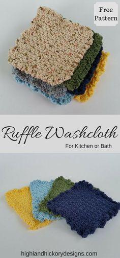 Crochet Ruffle Dishcloth or Washcloth. Free pattern. Beginner friendly. Works up quickly.