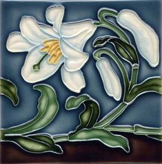 "Tile V114A - Reproduction Art Nouveau Tile  - porteous nz - Tiles are aprox. 150mm x 150mm (6"" x 6"") or 150mm x 75mm (6"" x 3"")."
