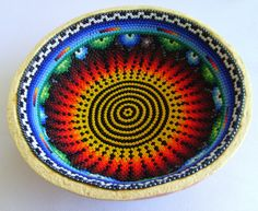 Your place to buy and sell all things handmade Vintage Pottery, Pottery Art, Bead Bowl, Native Design, Gourd Art, Mexican Folk Art, Bead Art, Indian Art, Gourds