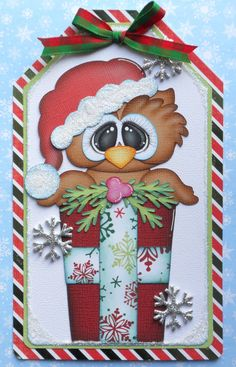 paper piecing christmas | Premade Paper Pieced Oversized Christmas Owl Tag - By Babs