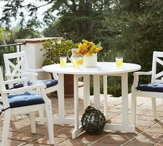 Hampstead Painted Round Drop-Leaf Dining Table Chair Set - White | Pottery Barn