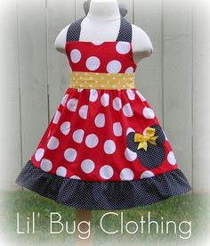 I had a little girl I'd dress her in this... Custom Boutique Clothing Minnie Mouse Halter by LilBugsClothing, $39.99
