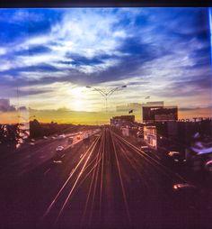 120 film - slide film - double exposure - sunset  - commute home - film photography