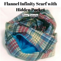 DIY infinity scarf with hidden pocket. The pocket inside the scarf keeps everything in place, but leaves no tell tale stitching on the outside of scarf. Dress Sewing Tutorials, Sewing Projects, Sewing Ideas, Sewing Crafts, Sewing Tips, Fleece Projects, Diy Projects, Crochet Scarf Easy, Diy Scarf