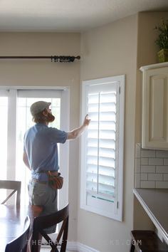 Nobody can argue with the fact that wooden shutters are absolutely stunning from the inside and outside of your home. They are an instant curb appeal upgrade as well as a dramatic indoor upgrade. Shutters With Curtains, Wooden Window Shutters, Curtain For Door Window, Interior Shutters, Interior Windows, Window Curtains, Kitchen Blinds Black, Decor Blinds, Shutter Designs