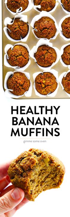 These Healthy Banana Muffins Are Easy To Make, Naturally Gluten-Free, Lightly Sweetened With Maple Syrup, And So Delicious Perfect For Breakfast Or A Healthy Snack, And Also Easy To Make Ahead And Freeze For Later. Gimme Some Oven Best Breakfast, Breakfast Recipes, Breakfast Muffins, Breakfast Toast, Breakfast Healthy, Healthy Banana Muffins, Healthy Snacks, Healthy Recipes, Clean Recipes
