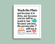 Mother Teresa of Calcutta Quote Print Wash the Plate Art   Etsy Quote Prints, Art Prints, Saints, Mother Teresa Quotes, Saint Quotes, Plate Art, Catholic Art, Color Calibration, Keep In Mind