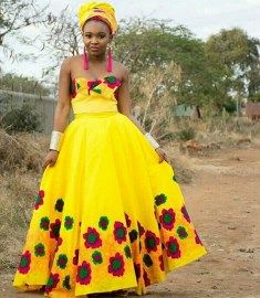 Bride and Her Maids In Tsonga Traditional Wedding Attire | Clipkulture | Clipkulture Tsonga Traditional Dresses, South African Traditional Dresses, Traditional Wedding Attire, African Fashion Dresses, High Waisted Skirt, Bride, Summer Dresses, African Weddings, Bangles