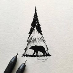 Little Hybrid Illustrations by Sam LarsonAmerican artist Sam Larson create tiny black and white illustrations with felt-tip pen, mixing wild landscapes and animals, shapes and food into detailed hybrid compositions.