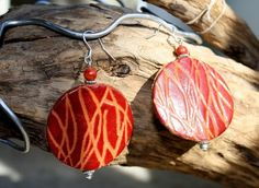 Red Etched Leather Disk Earrings with Red Coral Beads, $14.00