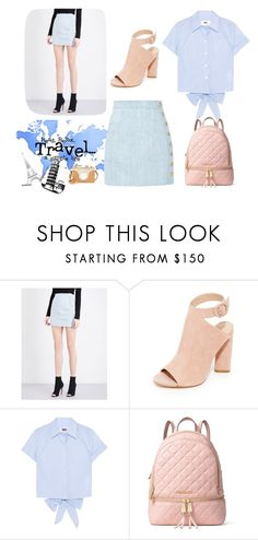 """Travel!"" by pengy-vanou on Polyvore featuring Balmain, Kendall + Kylie, MM6 Maison Margiela, MICHAEL Michael Kors, Sophie Bille Brahe, Charlotte Olympia, HELLMUTH and travel"