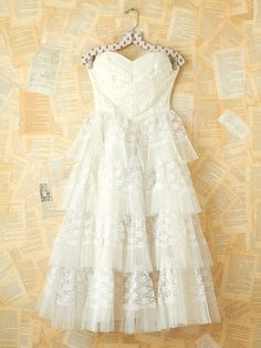 vintage 50's tiered lace tulle tea length wedding dress $698