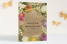 Minted - Floral Canopy Foil-Pressed Wedding Invitations  5x7 flat card, foil pressed 125 @ $2.52 each = about $315
