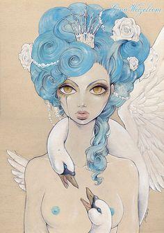 Poster Odette Illustration Art Lowbrow Comic by BlackUnicornShop