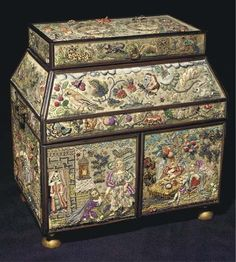 C in C style embroidered casket; the fronts worked with angels taking tea, with the Sacrifice of Isaac, & many three-dimensional fruits & flowers. Signed Leonora Jenner, 13 in x 12 in x 9 in. Sewing Box, Sewing Notions, Sewing Tools, Sewing Kits, Sewing Accessories, Casket, 17th Century, Pin Cushions, Textile Art