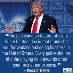 Trump knows what's up. Hillary takes better care of other countries and leaves America to dry up...