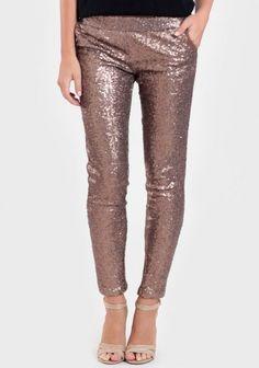 bronze sequin leggings