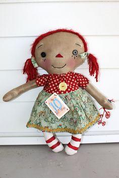 I Love Bikes Annie  Primitive Raggedy Ann Doll by HeartstringAnnie, $32.00