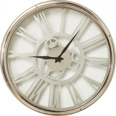 Industrious yet sleek in its design, with its strighforward clock hands and gears available for all to see. This classy time piece uses roman numerals to form most of the face/back of this factory wall clock. Clock, Accessories, Home Decor, Retro Clock, Pendulum Clock, Watch, Decoration Home, Room Decor, Clocks