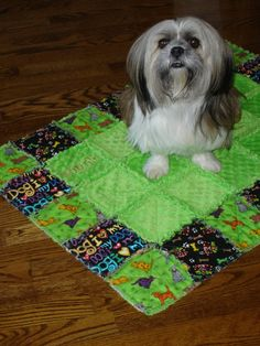 Cute cute cute - I wouldn't use it for my dog b/c he'd eat it, but it's cute for people too!  -  Dog Rag Quilt  Blanket  Personalized  Custom by Ritzsewcreative, $45.00