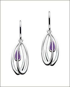 Charles Rennie Mackintosh Silver and Enamel Open Leaf Drop Earrings