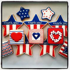 of July sugar cookies by Oh Sugar Events Iced Cookies, Cupcake Cookies, Cookies Et Biscuits, Cupcakes, Frosted Cookies, Sugar Cookie Frosting, Royal Icing Cookies, Blue Cookies, Fancy Cookies