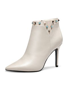 #AdoreWe NAIYEE Beige Pointed Toe Rivets Studded Feminine Stiletto Ankle Boots - AdoreWe.com