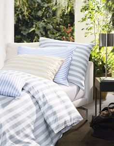 With CARLTON, Schlossberg nudges the gates of Paradise open with its images and motifs, its designs and effects from the fantasy world of an enchanting . Bed Table, Bath Linens, Beautiful Bedrooms, Stripes Design, Outdoor Furniture, Outdoor Decor, Luxury Bedding, Linen Bedding, Color Schemes