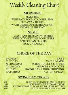 Another GREAT chore chart. I would love to be organized and disciplined enough to keep up with this daily/weekly cleaning chart (or one similar) to keep the house tidy with less stress. Diy Cleaning Products, Cleaning Solutions, Cleaning Hacks, Cleaning Schedules, Cleaning Checklist, Chore Schedule, Cleaning Calendar, Zone Cleaning, Schedule Printable
