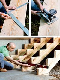 Woodworking Drawings - Comment construire un escalier? Plus Woodworking Drawings - Get A Lifetime Of Project Ideas and Inspiration! Outdoor Projects, Home Projects, Stairs Stringer, Building Stairs, Home Repairs, Woodworking Tips, Woodworking Techniques, Woodworking Furniture, Woodworking Organization