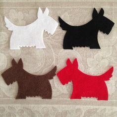 x4 Felt SCOTTIE DOG die cuts Appliques Christmas Decorations DIY Softies by MagentaGingerCrafts on Etsy https://www.etsy.com/listing/154563147/x4-felt-scottie-dog-die-cuts-appliques
