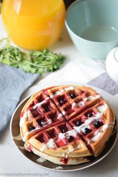 Blueberry Cake Waffles are easy to whip up and sure to be loved by the whole family! Make these on the weekdays, weekends, or holidays. They are perfect anytime!