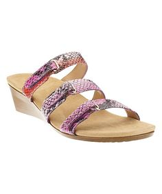 Another great find on #zulily! Pink Snake Dwynn Orthotic Leather Slide - Women #zulilyfinds
