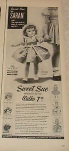 Sweet-Sue-doll-Walks-Saran-hair-1953-magazine-ad-5-x-14-Harwood-PJs-Lucy-Desi