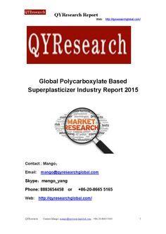 Global polycarboxylate based superplasticizer industry report 2015