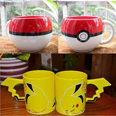 combo pokemon poke ball and pikachu mug handgrip ceramic…