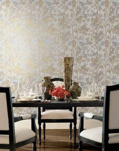 Shimmering Foliage York Wallcoverings Wallpaper Wallpaper York Wallcoverings Beiges Gold Designer Wallpaper Floral & Plants Wallpaper Metallic Wallpaper Textured Wallpaper, Non Woven, Easy to clean , Easy to wash, Easy to strip Plant Wallpaper, Wallpaper Panels, Wallpaper Roll, Wallpaper Ideas, Metallic Wallpaper, Textured Wallpaper, Wallpaper Warehouse, High Quality Furniture, Furniture Companies